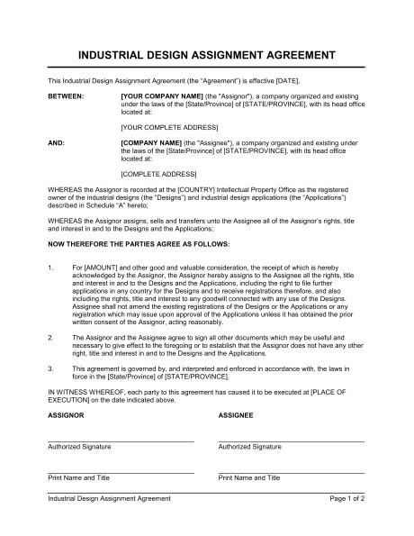 industrial design assignment agreement d944
