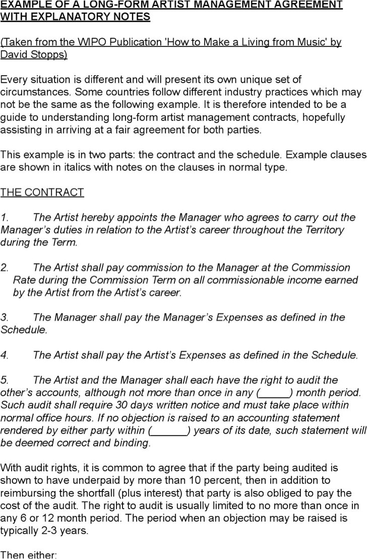 artist management contract templates