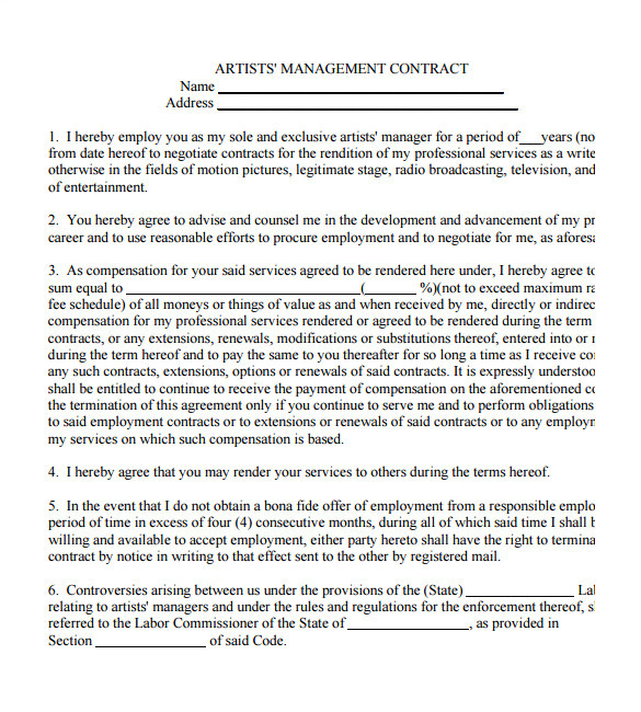 Artist Management Contract Template Free Download 5 Artist Management Contract Templates Free Pdf Word