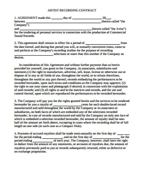 artist agreement contract