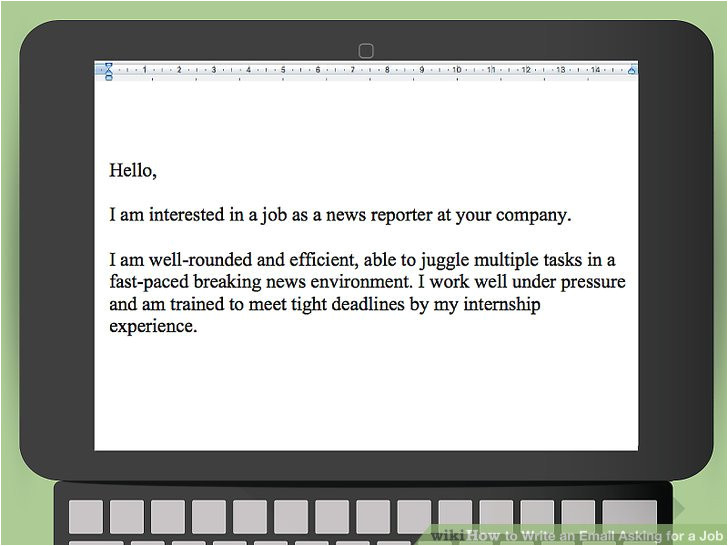 write an email asking for a job