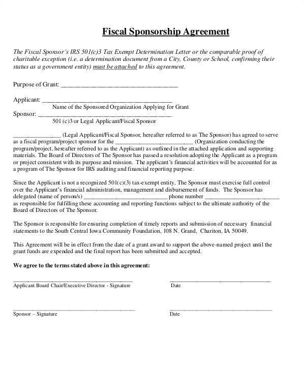 sponsorship agreement