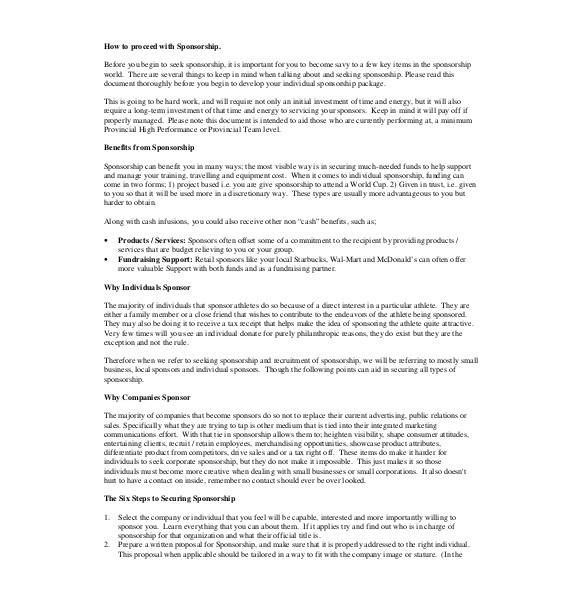 individual athlete sponsorship letter template