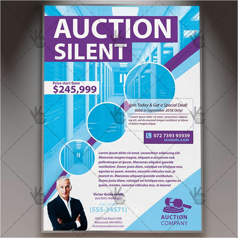 auction silent premium flyer psd template