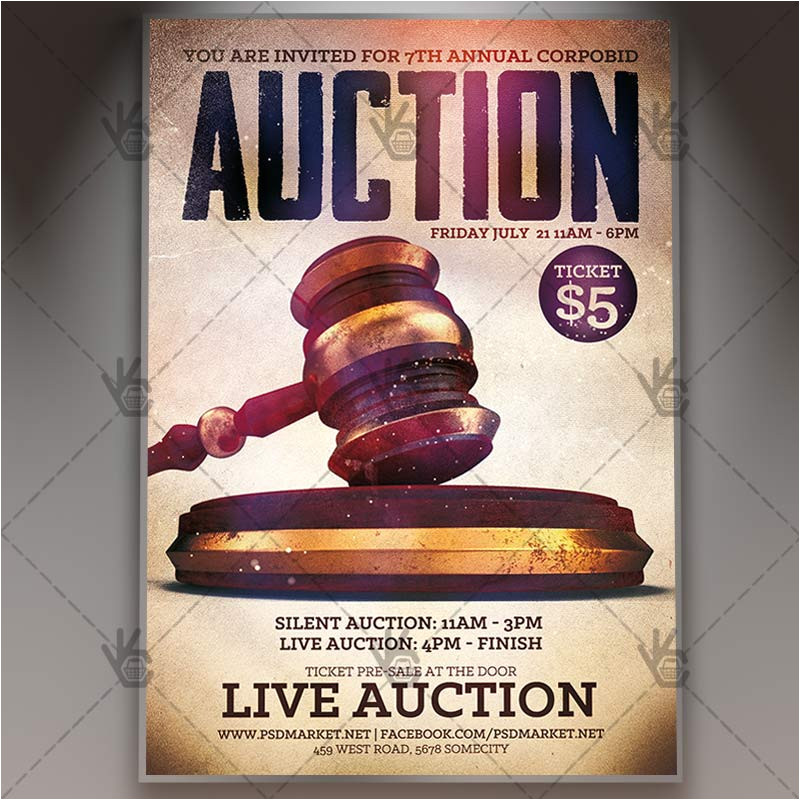 live auction premium flyer psd template