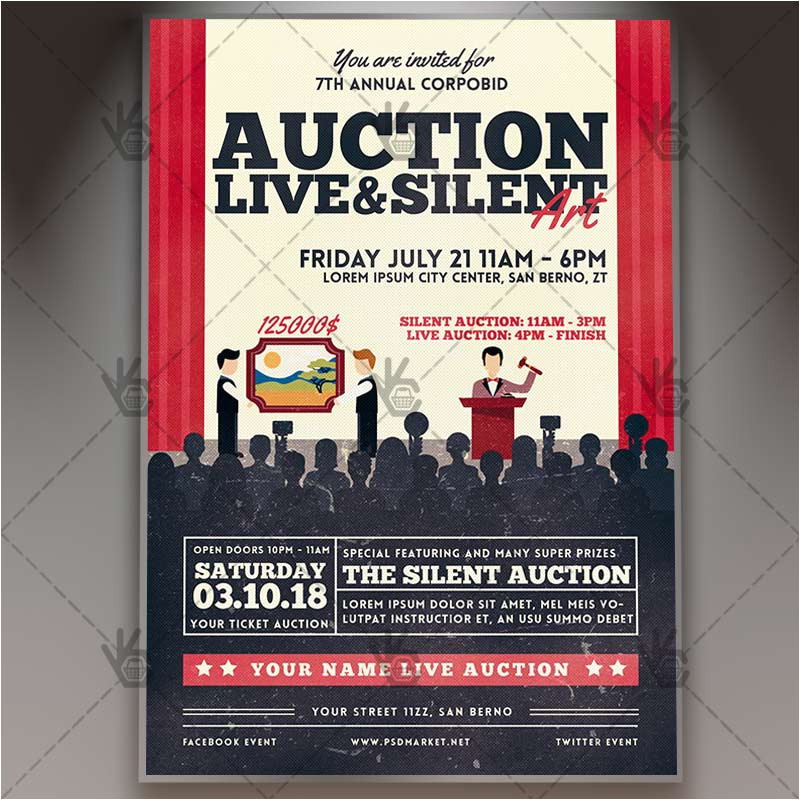 auction premium flyer psd template