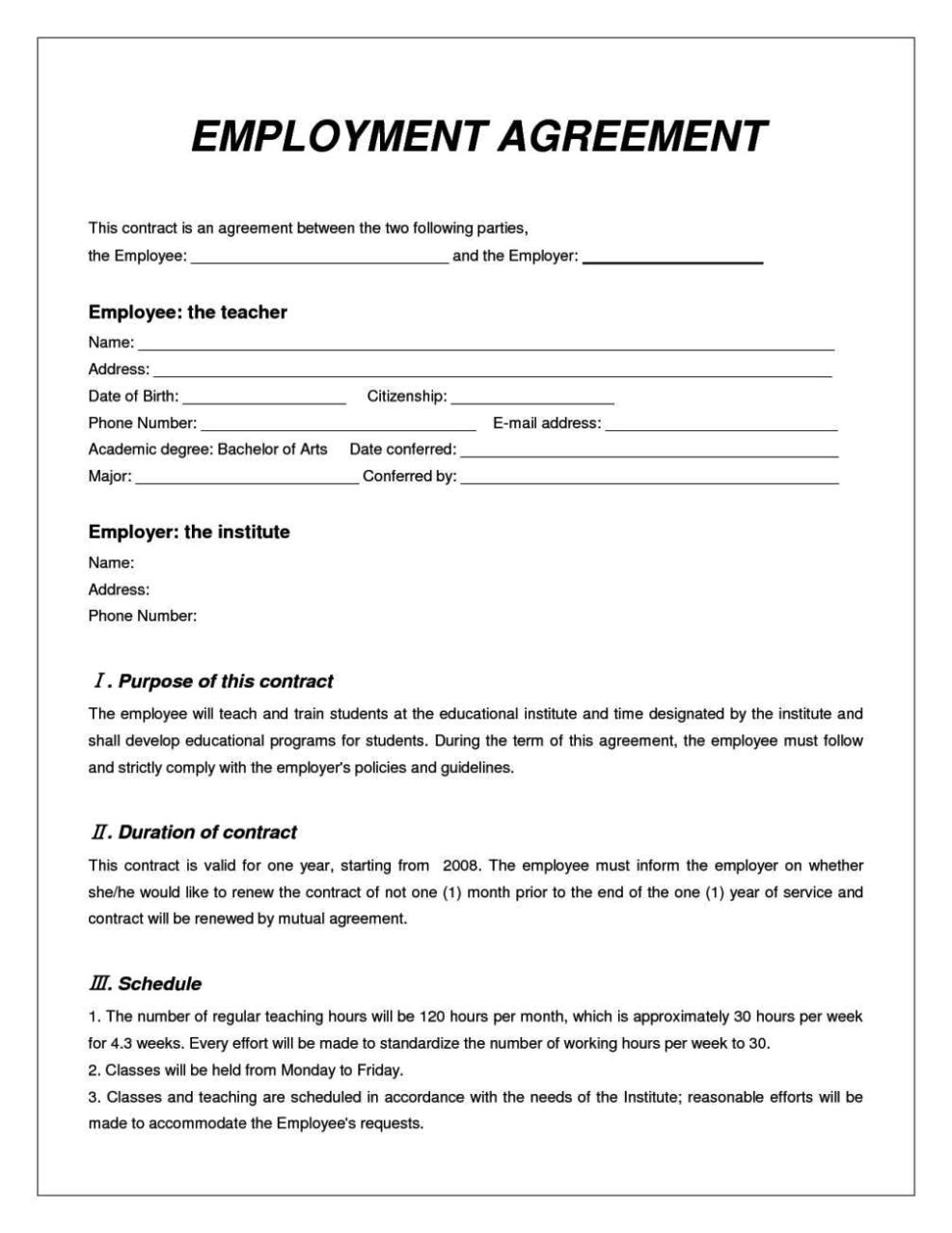 contract of employment template australia