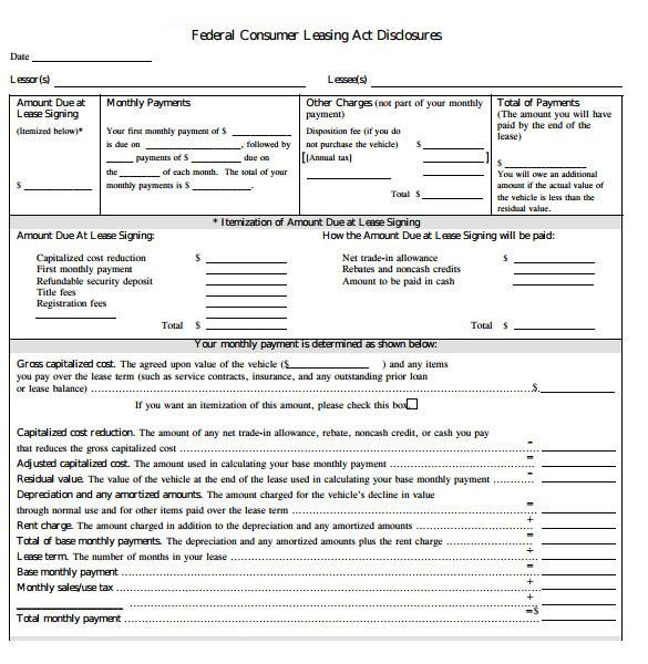sample car lease agreement template