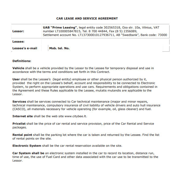 Auto Lease Contract Template Sample Vehicle Lease Agreement Template 14 Free