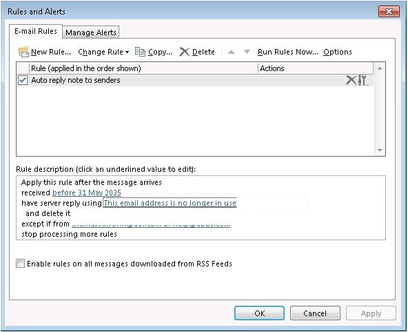 setting up an auto reply message for a shared mailbox in office 365