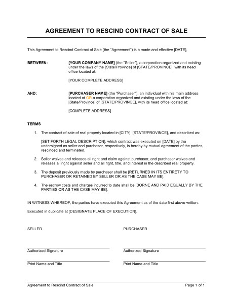 agreement to rescind contract of sale d1165