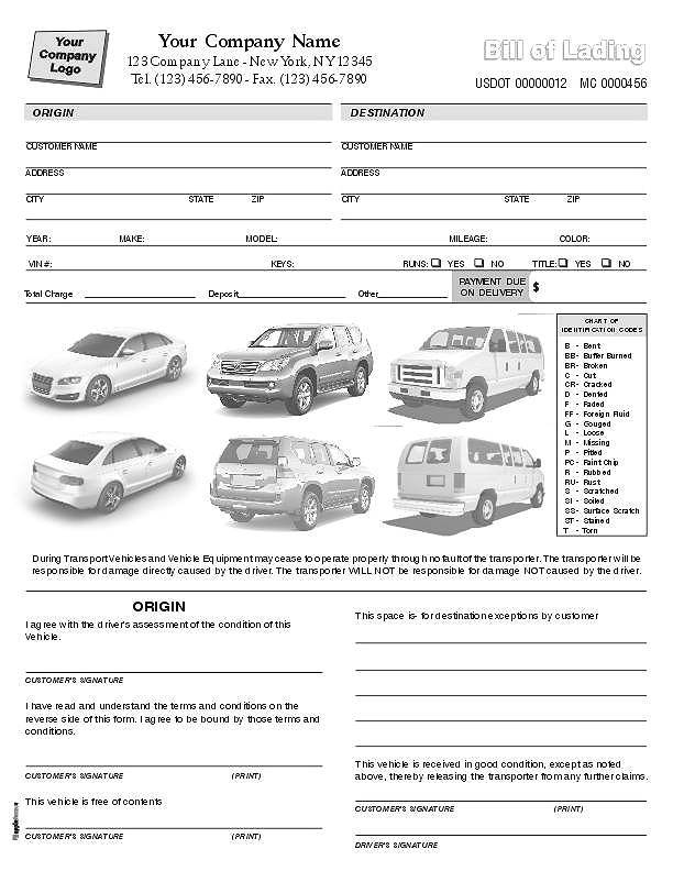 free bill of lading form auto transport download as pdf