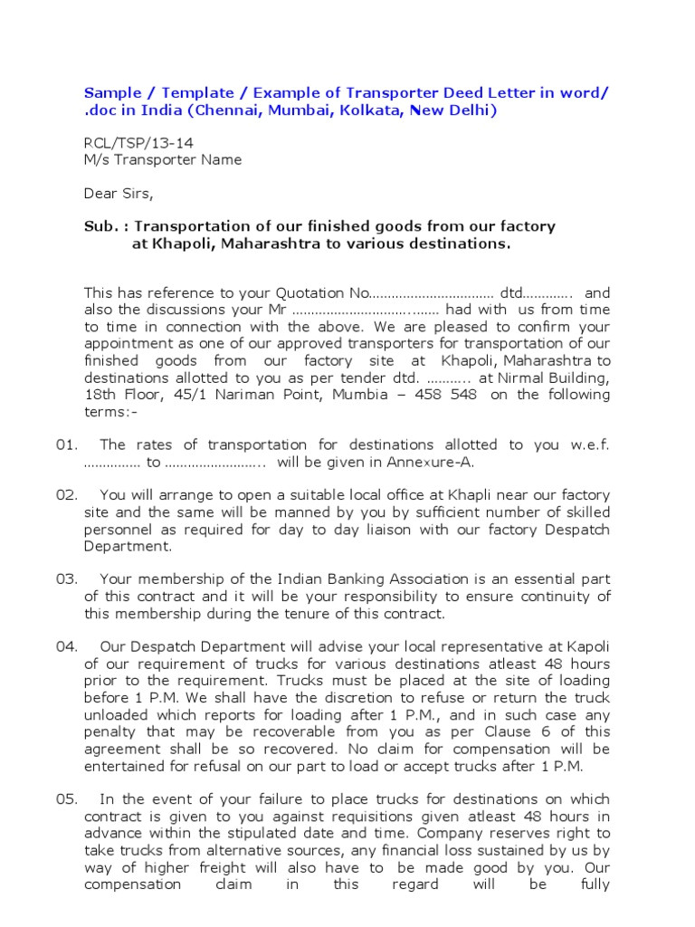 transport contract agreement format