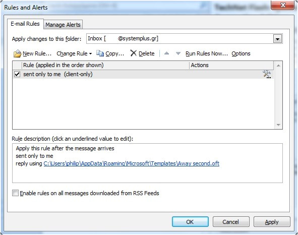 how to use a template as an automatic reply in outlook