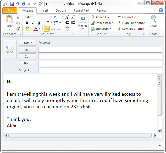 thanksgiving holiday out of office message examples