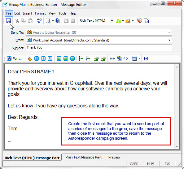 Autoresponder Email Template Automatic Email Drip Marketing Campaigns with Groupmail
