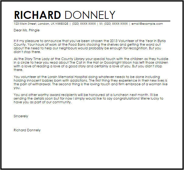 award announcement letter