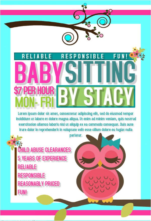 baby sitting flyer