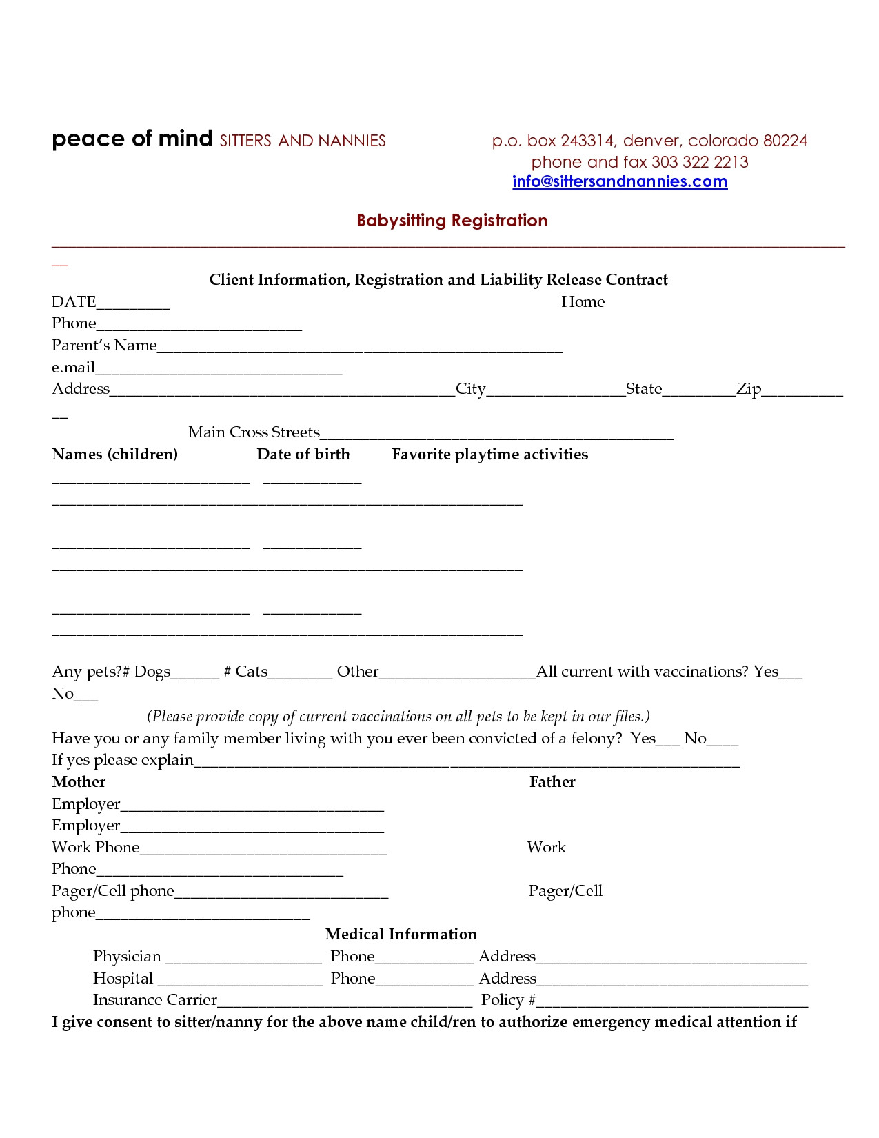 73633 babysitting agreement template