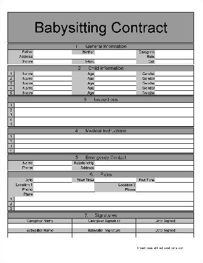 f361 fancy numbered row and sections babysitting contract