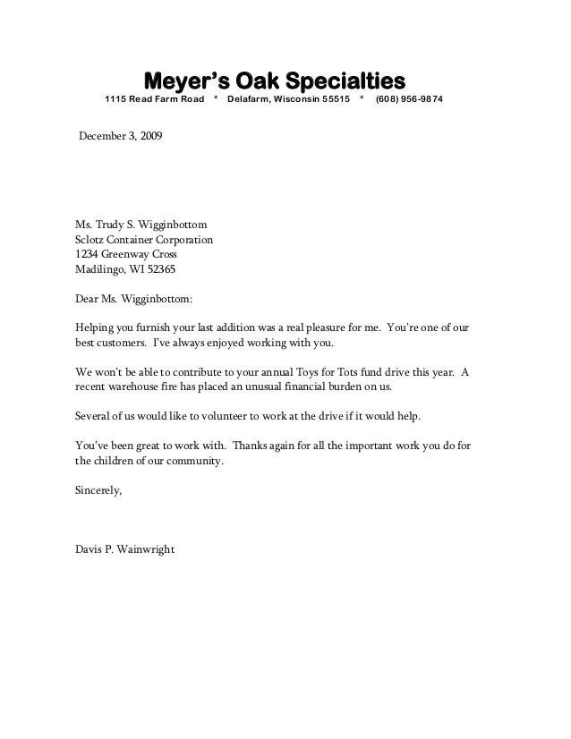 sample bad news letter