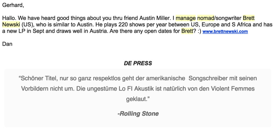Band Booking Email Template Musician 39 S Guide to touring Europe without A Booking Agent
