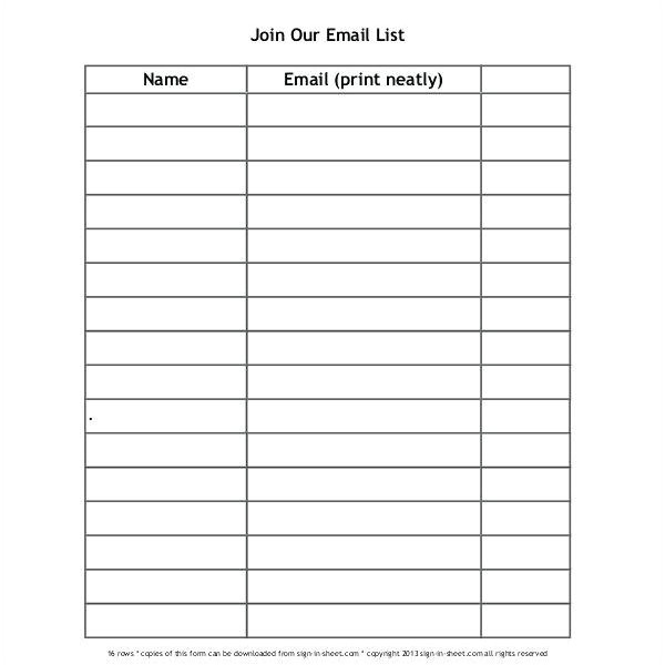 sign in sheet name and email blank sign in sheet template band inside blank name list