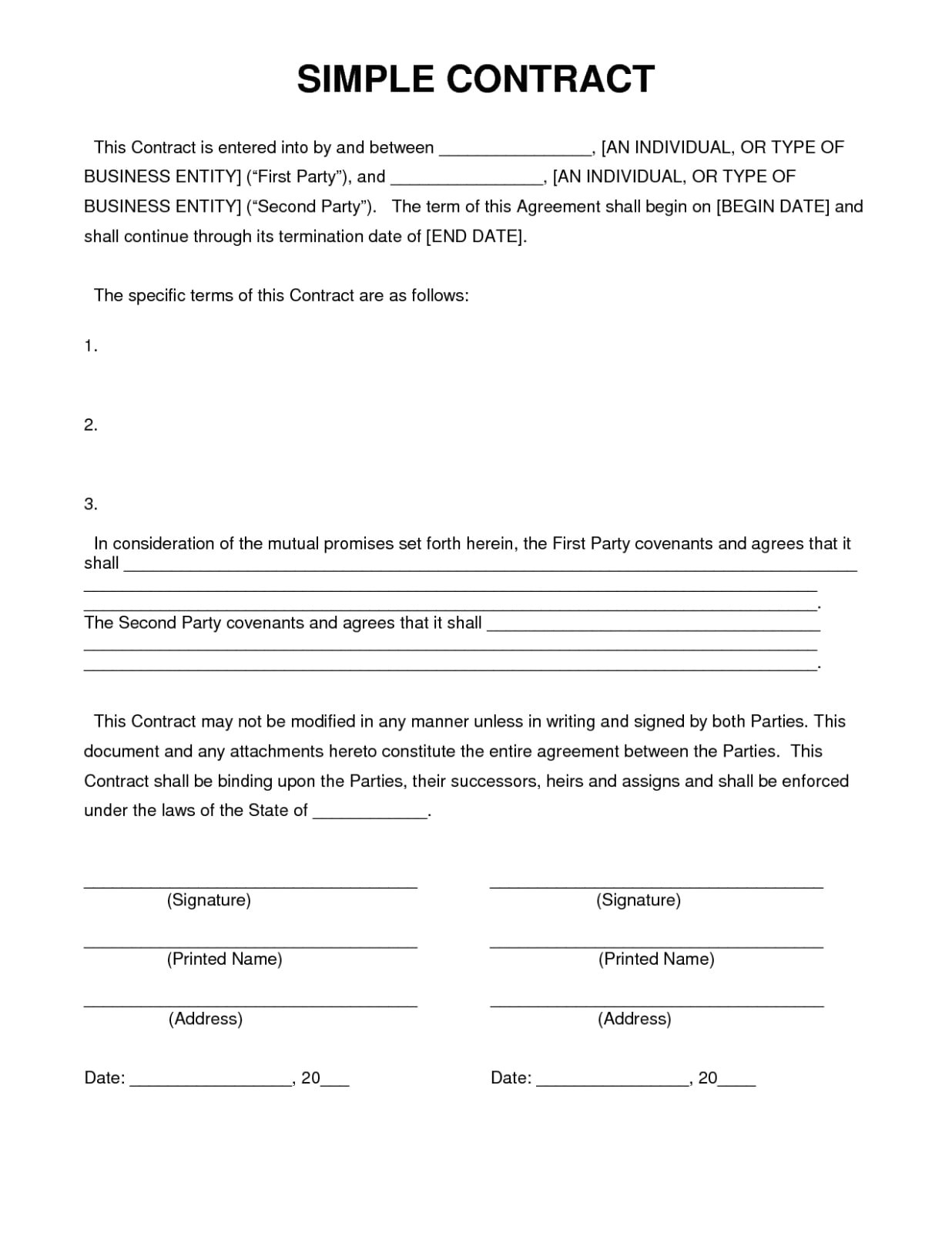 contract agreement letter
