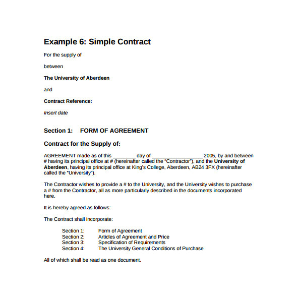 sample basic contract template