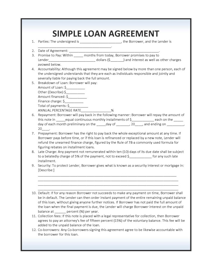 Basic Loan Contract Template Download Simple Loan Agreement Template Pdf Rtf Word