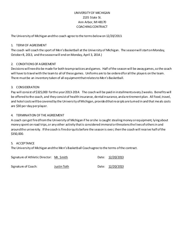 Basketball Contract Template Men 39 S Basketball Coach Contract Example
