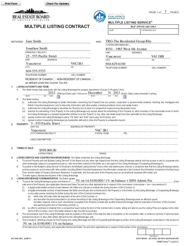Bc Real Estate Contract Of Purchase and Sale Template Previous Mls Contract Example