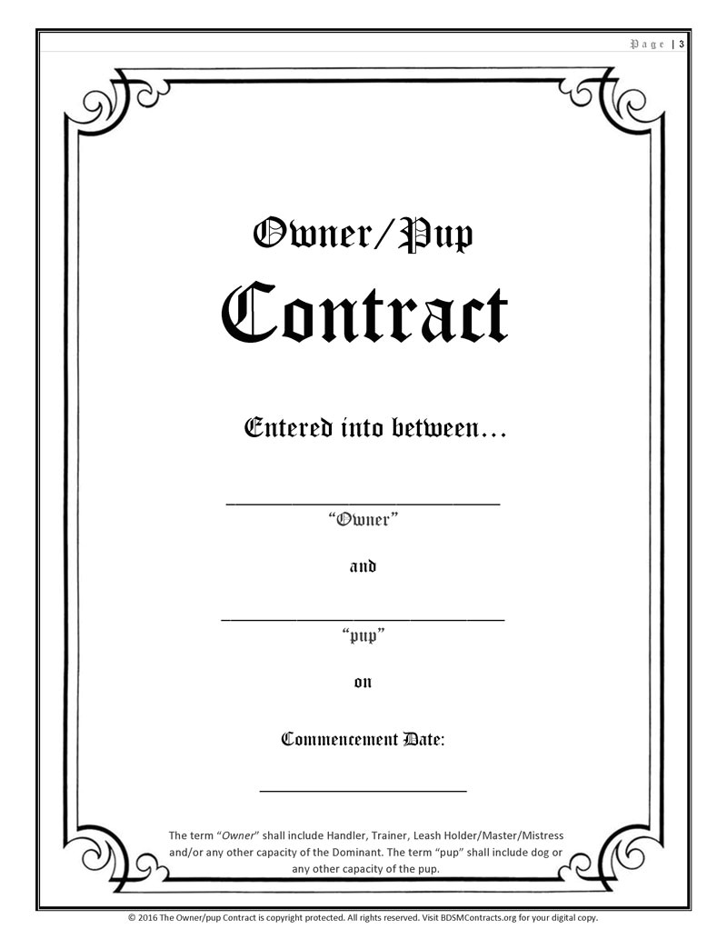 Bdsm Contract Template Pup Play Contract Hard Copy soft Hard Cover