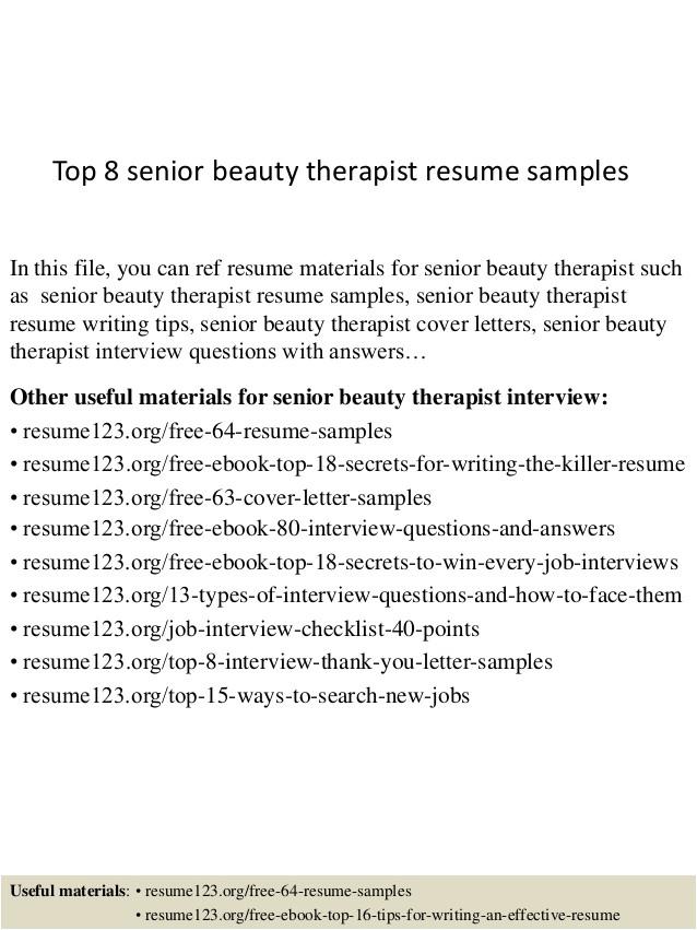 top 8 senior beauty therapist resume samples