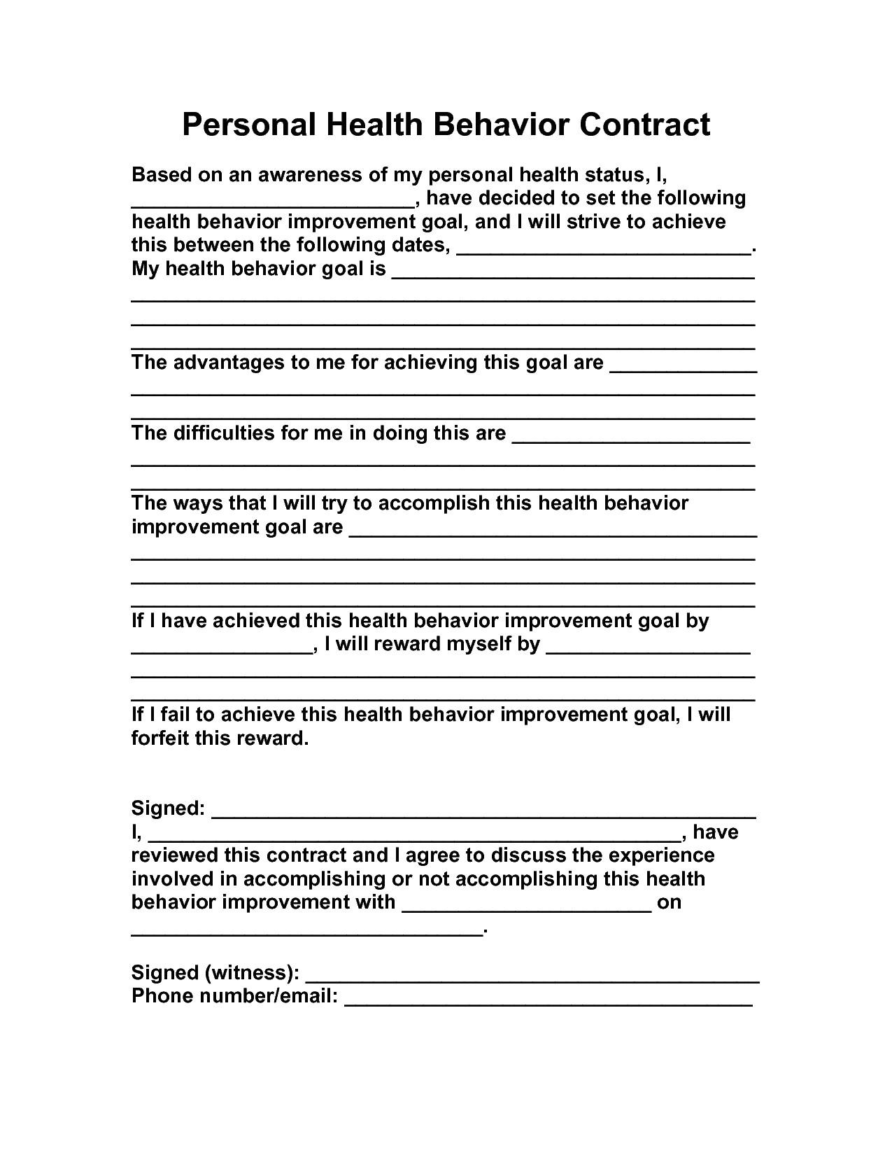post behavior change contract worksheet 70267