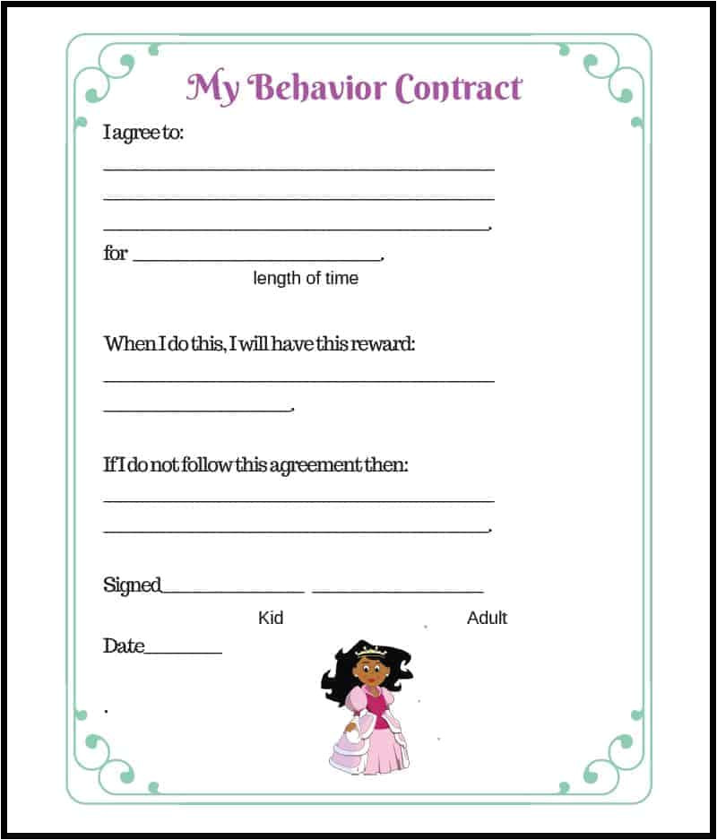 behavior contract princess style