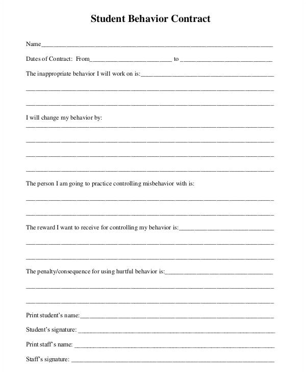 Behavior Contract Template for Adults 12 Sample Behavior Contract Templates Word Pages Docs