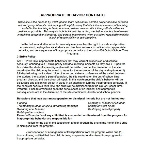 behaviour contract template