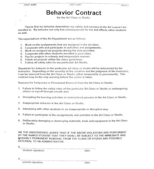 Behavior Contract Template High School 15 Best Images Of Worksheets Students Behavior Contract