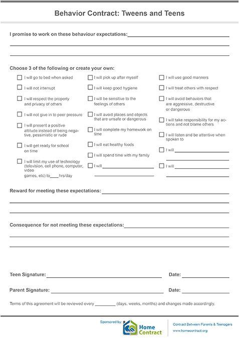 Behavior Contract Template High School Best 25 Behavior Contract Ideas On Pinterest Behaviour