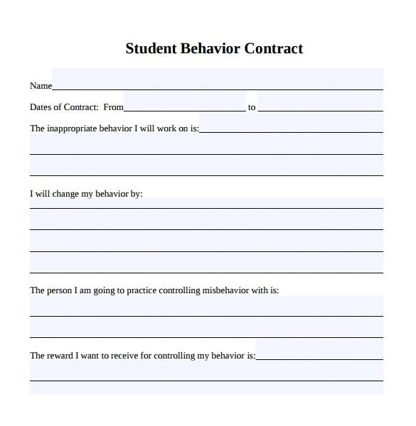 Behavior Contract Template High School Sample Behaviour Contract 15 Free Documents Download In