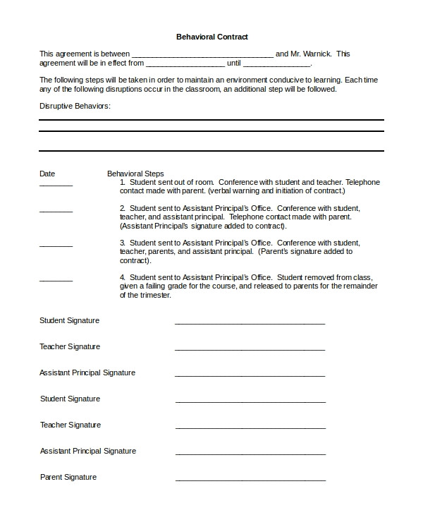 Behavioral Contract Template Sample Behavior Contract 11 Examples In Pdf Word