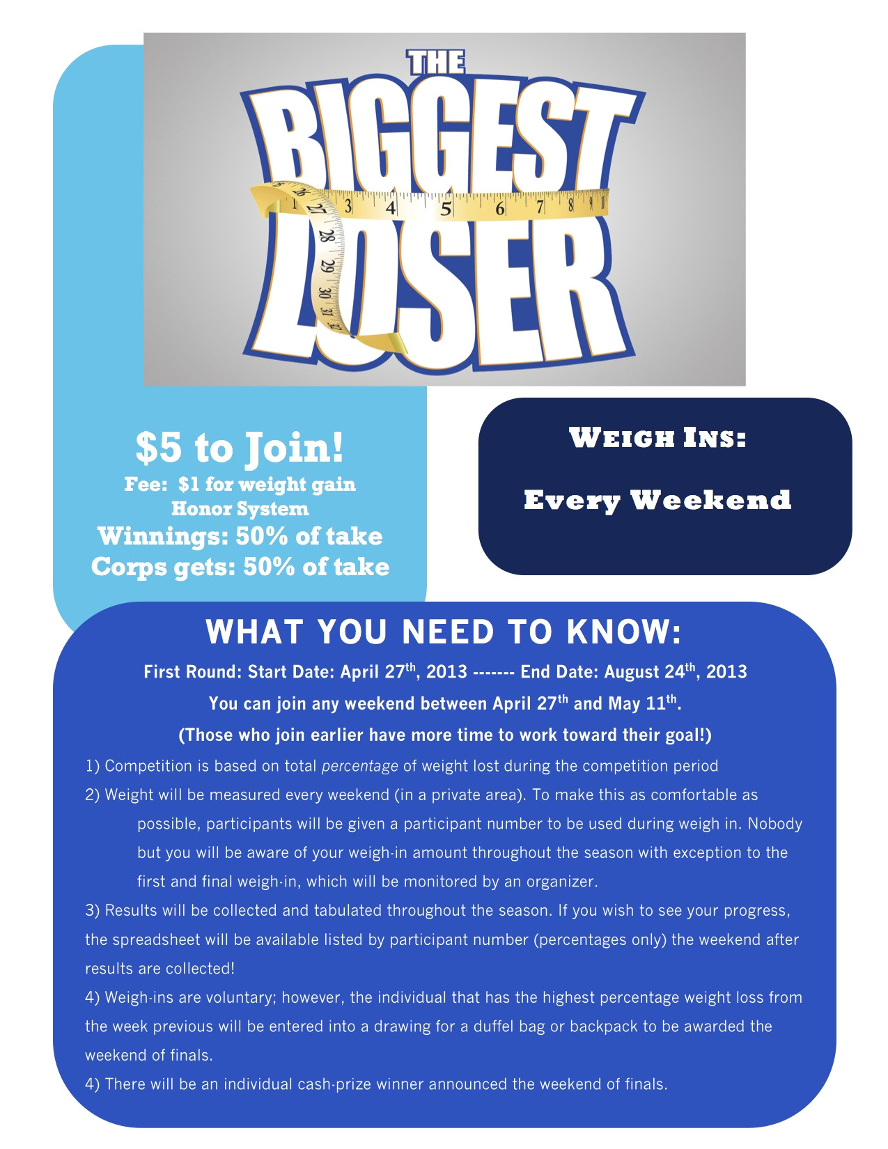 white sabers holding the biggest loser competition during 2013 season