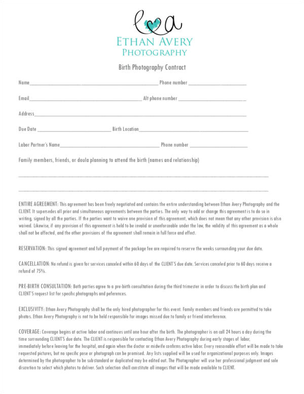 Birth Photography Contract Template 23 Photography Contract Templates and Samples In Pdf