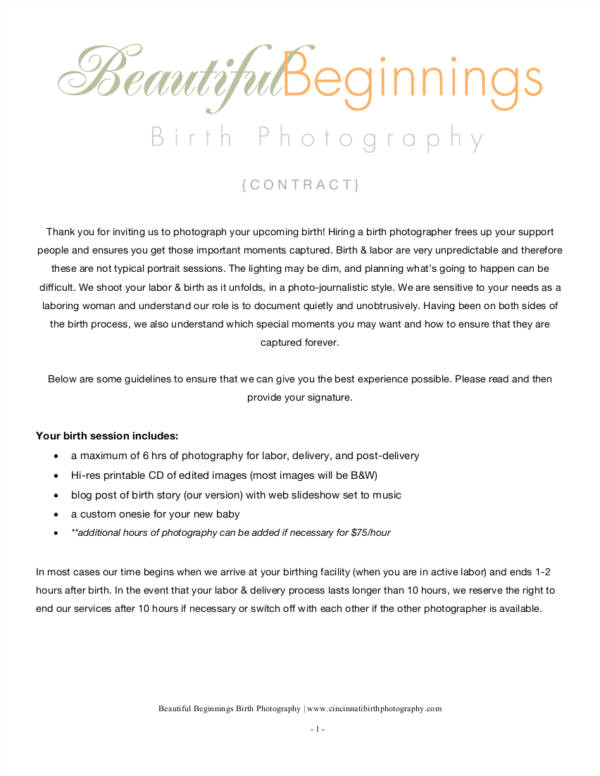 Birth Photography Contract Template 34 Contract Samples Templates In Pdf