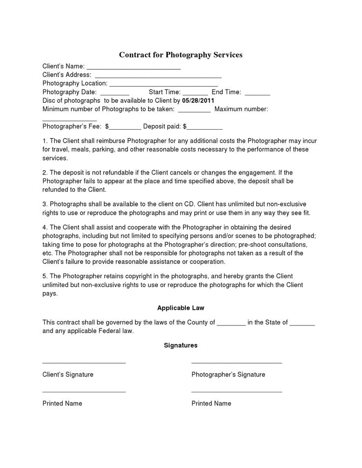 Birth Photography Contract Template Free Printable Wedding Photography Contract Template form