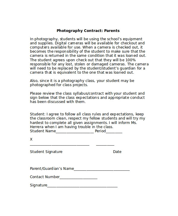 Birth Photography Contract Template Sample Photography Contracts 8 Documents In Pdf Word