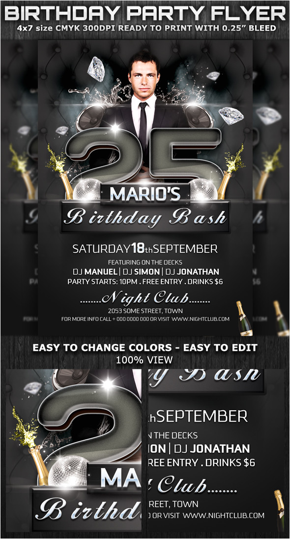 birthday bash party club flyer template
