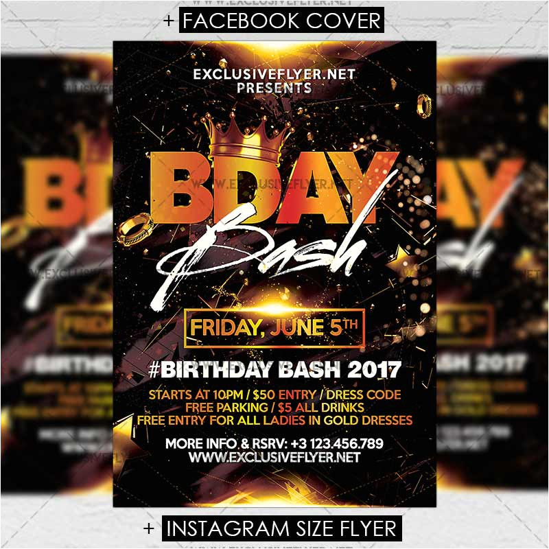 birthday bash premium a5 flyer template 2