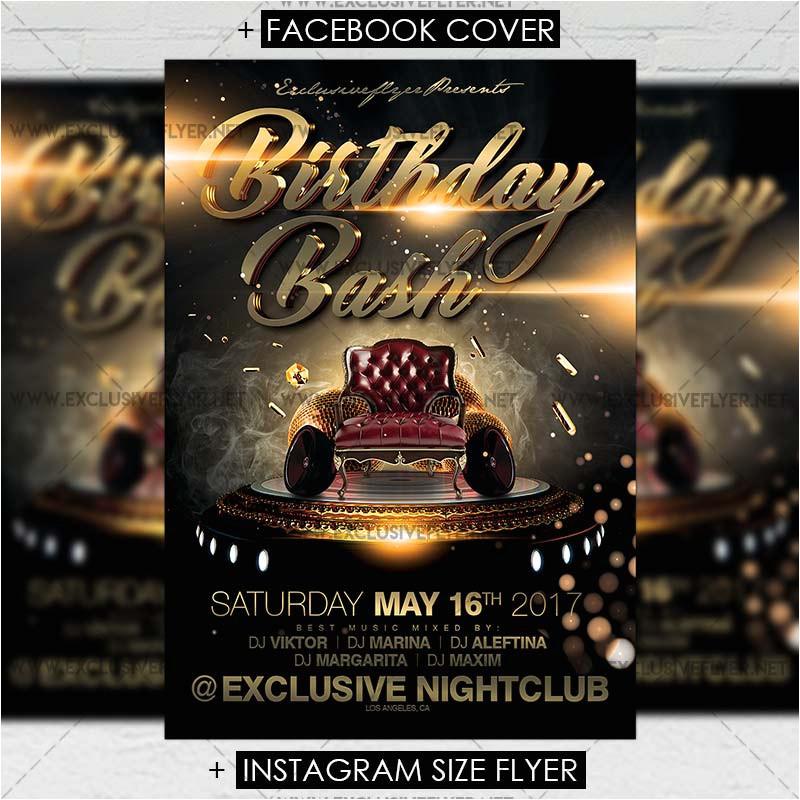 birthday bash premium a5 flyer template